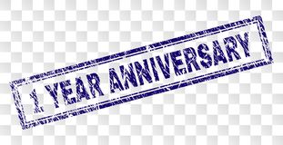 Scratched 1 YEAR ANNIVERSARY Rectangle Stamp. 1 YEAR ANNIVERSARY stamp seal print with rubber print style and double framed rectangle shape. Stamp is placed on a Stock Illustration