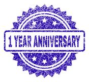 Grunge 1 YEAR ANNIVERSARY Stamp Seal. 1 YEAR ANNIVERSARY stamp watermark with corroded style. Blue vector rubber seal print of 1 YEAR ANNIVERSARY tag with Stock Illustration