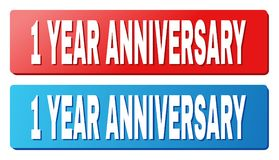 1 YEAR ANNIVERSARY Title on Blue and Red Rectangle Buttons. 1 YEAR ANNIVERSARY text on rounded rectangle buttons. Designed with white title with shadow and blue Stock Illustration