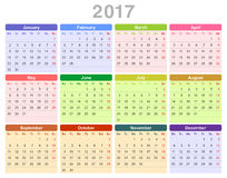 2017 year annual calendar. Color vector illustration of 2017 year annual calendar (Monday first, English) isolated on white background Royalty Free Stock Images