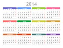 2014 year annual calendar (Monday first, English). Color vector illustration of 2014 year annual calendar (Monday first, English Stock Images