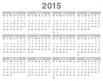 2015 year annual calendar (Monday first, English) Stock Images