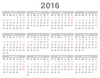 2016 year annual calendar (Monday first, English) Stock Photography