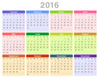 2016 year annual calendar (Monday first, English) Stock Image