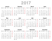 2017 year annual calendar (Monday first, English). Color vector illustration of 2017 year annual calendar (Monday first, English) isolated on white background Stock Images