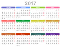 2017 year annual calendar Monday first, English. Color vector illustration of 2017 year annual calendar Monday first, English isolated on white background Royalty Free Stock Photos
