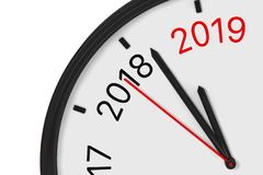The Year 2019 is Approaching. 2019 Sign with a Clock. 3d Rendering. The Year 2019 is Approaching. 2019 Sign with a Clock on a white background. 3d Rendering stock illustration