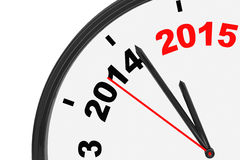 The year 2015 is approaching. 2015 sign with a clock on a white background Royalty Free Stock Photo