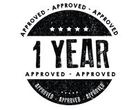1 year approved icon. Black stamp rubber Royalty Free Stock Images