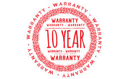 10 year approved icon. 10 year approved red icon warranty Stock Image
