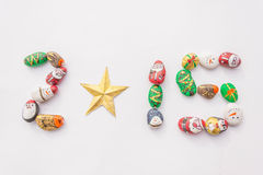 Year  2015. Array cute cartoon of christmas rocks in number 2015 Royalty Free Stock Photos