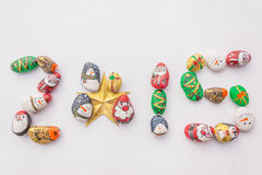 Year  2015. Array cute cartoon of christmas rocks in number 2015 Royalty Free Stock Photo