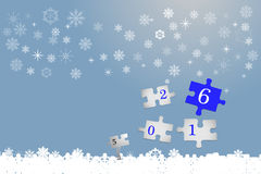 The year 2016 arrives and 2015 is leaving off. Four white puzzle pieces with numbers 2016 vector. The part with number number six is in blue color. The part with Royalty Free Stock Photo