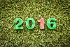 Year 2016 on artifical grass Stock Images