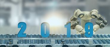 2019 year artificial intelligence or ai futuristic concept, assistant robot try to put number of new year coming 2019 on operatio royalty free stock photos