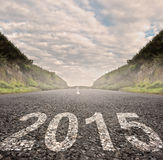 Year 2015 on asphalt Stock Photos
