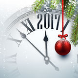 2017 year background with clock. 2017 year background with clock, fir branches and ball. Vector illustration Royalty Free Stock Photos