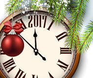 2017 year background with clock. 2017 year background with clock, fir branches and ball. Vector illustration Royalty Free Stock Image