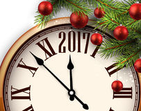 2017 year background with clock. Royalty Free Stock Photos