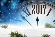 2017 year background with clock. 2017 year background with clock, fir branches and snow. Vector illustration Royalty Free Stock Images