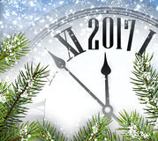 2017 year background with clock. 2017 year background with clock and fir branches. Vector illustration Stock Images