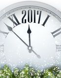 2017 year background with clock. 2017 year background with clock and fir branches. Vector illustration Royalty Free Stock Image