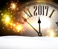 2017 year background with clock. 2017 year background with clock, lights and snow. Vector illustration Stock Photos