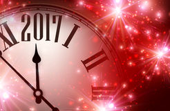 2017 year background with clock. 2017 year red shining background with clock. Vector illustration Stock Photos