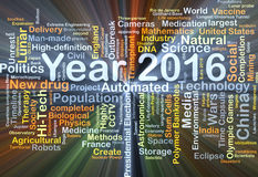 Year 2016 background concept glowing. Background concept wordcloud illustration of year 2016 glowing light Stock Photos
