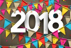 2018 new year background with flags. 2018 year background with paper colorful flags and confetti. Vector illustration Royalty Free Stock Image