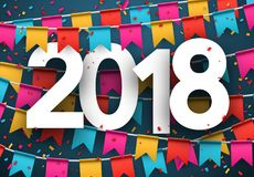 2018 new year background with flags. 2018 year background with paper colorful flags and confetti. Vector illustration Stock Images