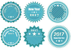 2017 year badge. Illustration of blue badge with 2017 year text Stock Photography