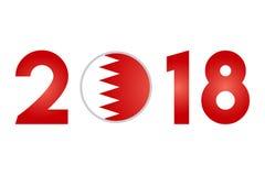 Year 2018 with Bahrain Flag Royalty Free Stock Photos