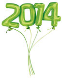 Year 2014 balloons. New Year 2014 Green balloons Vector Illustration