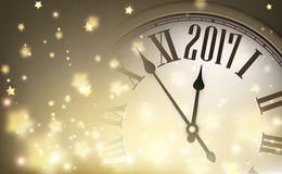 2017 year banner with clock. 2017 year banner with clock and stars. Vector illustration Royalty Free Stock Photography