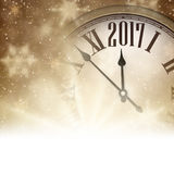 2017 year banner with clock. 2017 year banner with clock and stars. Vector illustration Stock Photography