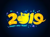 2019 year banner design concept with pig vector illustration