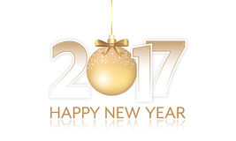 Year 2017  banner with golden hanging bauble and bow. Year 2017 banner with golden hanging bauble and bow. Editable  design Stock Photography