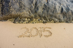 Year 2015 on the beach Royalty Free Stock Photo