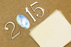 Year 2015 on the beach Stock Photos