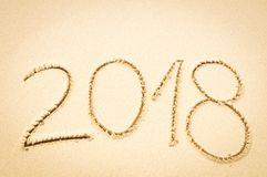 Year 2018 on the beach Stock Photography