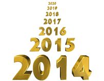 Year 2014. 2015 and beyond, on a white background with gold numerals Royalty Free Stock Photography