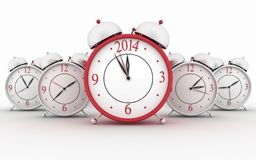 2014 year on big alarm clock. 3d alarm clocks on white royalty free illustration