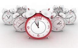 2014 year on big alarm clock. 3d alarm clocks on white stock illustration