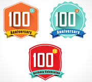 100 year birthday celebration flat color vintage label badge, 100th anniversary decorative emblem. Created 100 year birthday celebration flat color vintage label vector illustration
