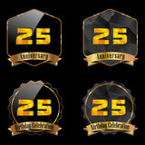 25 year birthday celebration golden label, 25th anniversary. Created 25 year birthday celebration golden label, 25th anniversary decorative polygon golden emblem vector illustration