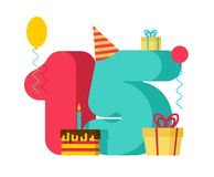 15 year Birthday sign. 15th Template greeting card anniversary c. Elebration. Fifteen number and festive piece of cake with candle. Balloon and Gift box Stock Illustration