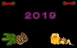 """New Year illustration design. The year""""2019"""" on black backround.In the both side top corners are red Christmas ornament.Down in the right side corner vector illustration"""