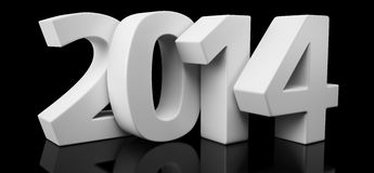 Year 2014 on black. Big letters 2014 on glossy black background Stock Images