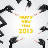Year of black snake. Vector New Year's Eve greeting card with black snake stock illustration